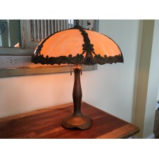 SKU26 Signed Moe Bridges slag glass lamp for sale Circa 1920's 6 panels